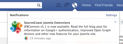 Facebook App Notifications for Joomla