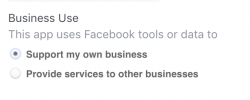 FB App: Select business use