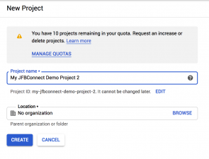 Google Application - New Project Values