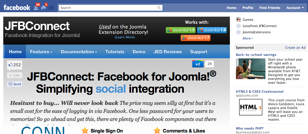 Joomla in Facebook Canvas