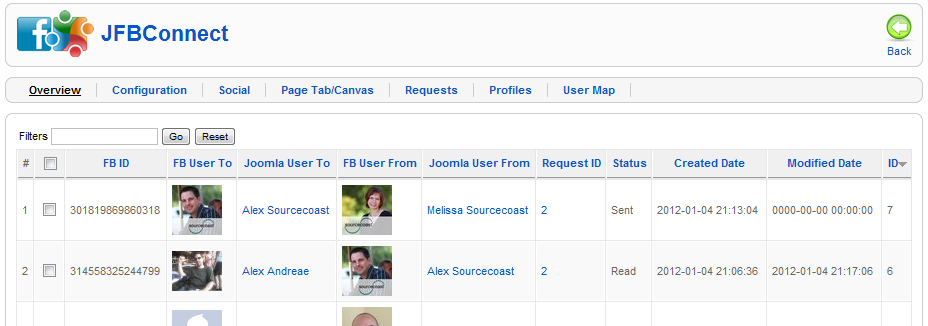 Facebook Request Tracking for Joomla