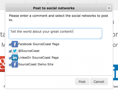 Post content to social networks from Joomla