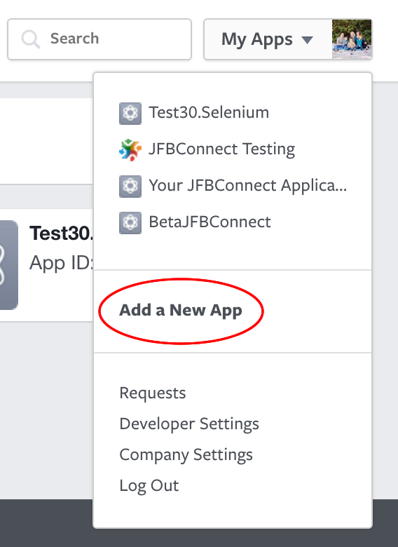 Facebook - Create New Application