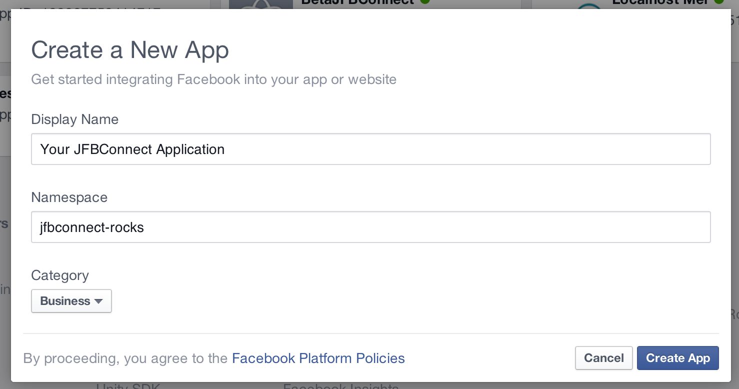 New Facebook Application dialog