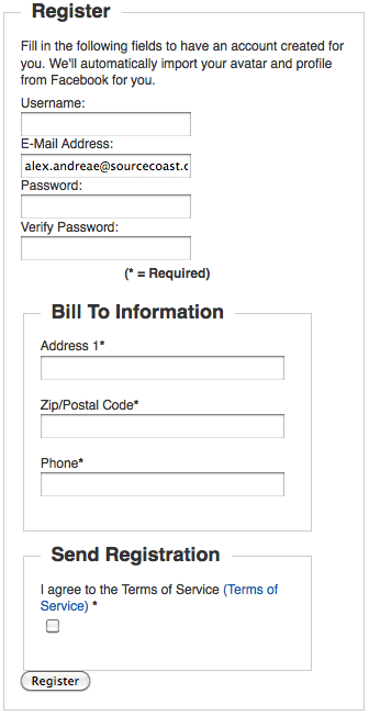 VirtueMart With Facebook Registration Form