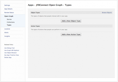 Create your objects and actions in the Open Graph Types area.